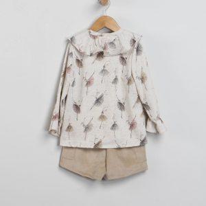 Conjunto de short de pana y blusa bailarinas