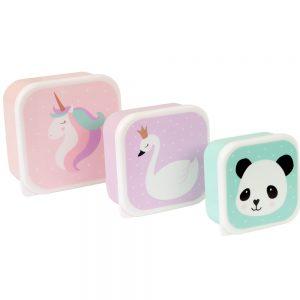 Pack 3 cajas de almuerzo unicornio