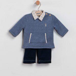 Conjunto camisa, sudadera y pantalón azulón
