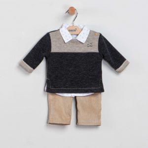 Conjunto camisa, jersey y pantalón arena
