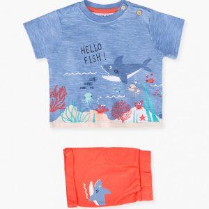 Conjunto bermuda y camiseta hello fish