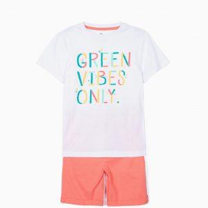 Conjunto camiseta y pantalón coral Green vibes