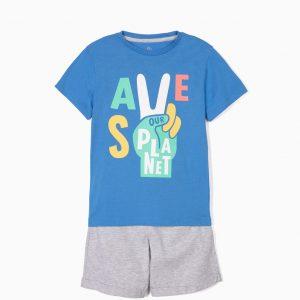 Conjunto camiseta y pantalón coral Save our planet