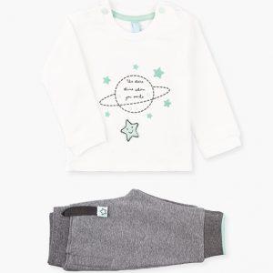 Conjunto de sudadera y pantalón algodón orgánico estrellas menta