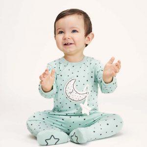 Pijama algodón orgánico estrellas menta