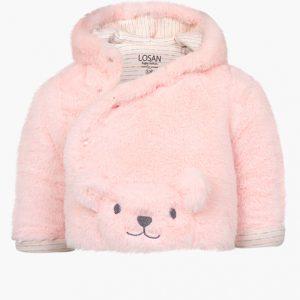 Abrigo de oso con pelito rosa