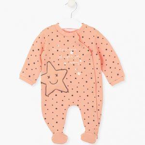 Pijama algodón orgánico estrellas melocotón