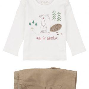 Conjunto de camiseta y pantalón de pana osito