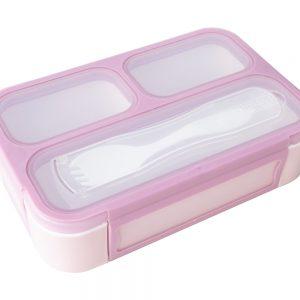 Caja de almuerzo compartimentos Bento rosa