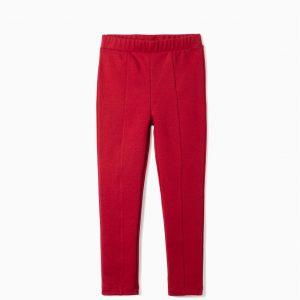 Legging con pliegues rojo niña