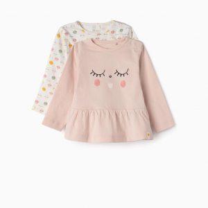 Pack de camisetas rosa / blanca smile