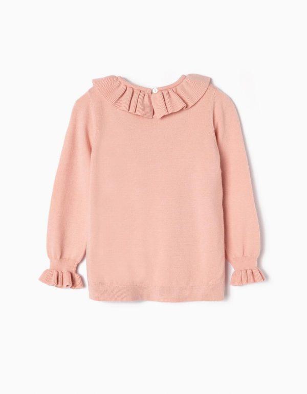 Jersey con volante rosa para niña