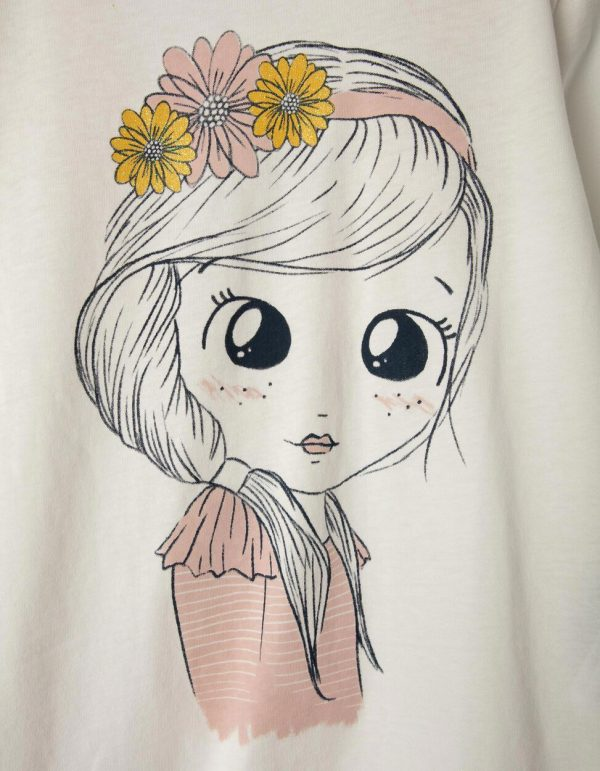 Camiseta blanca flowers girl