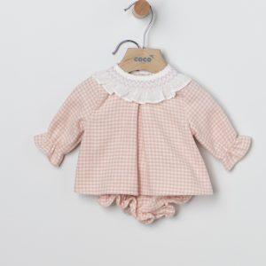 Conjunto braguita y jersey pata de gallo rosa
