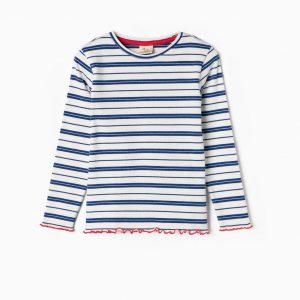 Camiseta de canalé a rayas azul