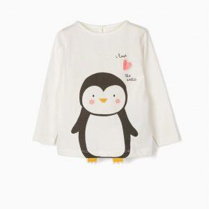 Camiseta bebé niña pingüino