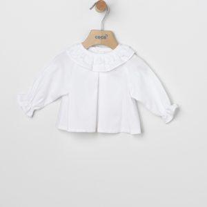 Blusa pop blanca con volantes y bordados