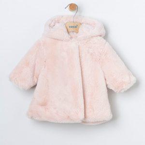 Abrigo de pelito rosa para bebé niña