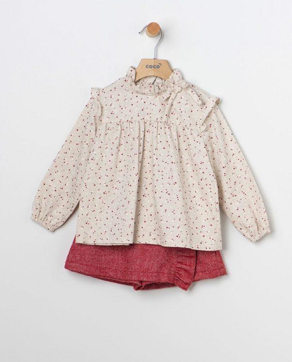 Conjunto blusa estrellitas y falda pantalón espiga granate