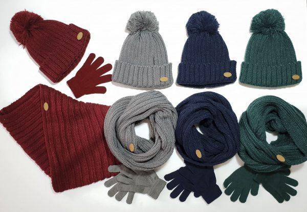 Conjunto cuello, guantes y gorro canalé básico infantil