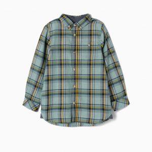 Camisa a cuadros verde y azul