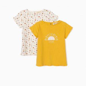 Pack camisetas canalé mostaza/flores