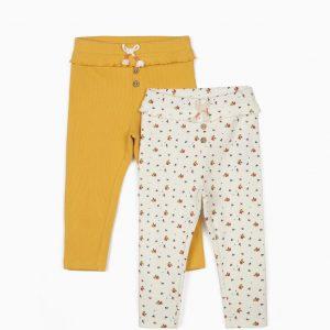 Pack leggings canalé mostaza/flores