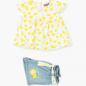 Conjunto camiseta y short denim limones