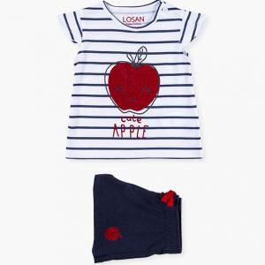 Conjunto camiseta y short a rayas manzana