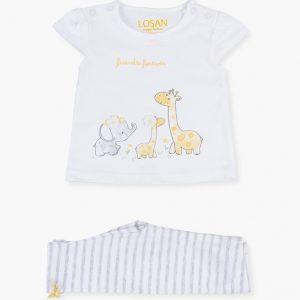 Conjunto de camiseta de manga corta y leggins de rayas animales