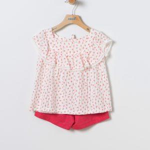 Conjunto de blusa plumeti y short rojo Coco Acqua
