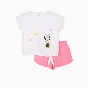 Conjunto camiseta y short rosa Minnie niña