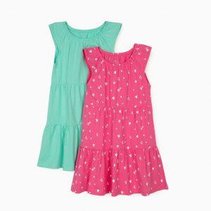 Pack 2 vestidos verde agua / fucsia