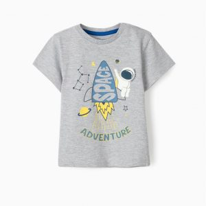 Camiseta bebé space advernture gris