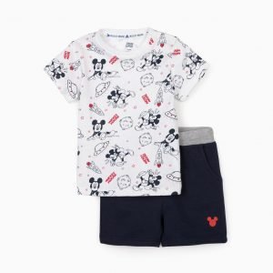 Conjunto camiseta y bermuda Mickey Space