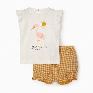 Conjunto camiseta y short cuadros vichy flamenco