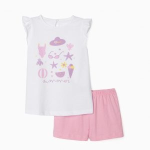 Pijama niña summer blanco / rosa