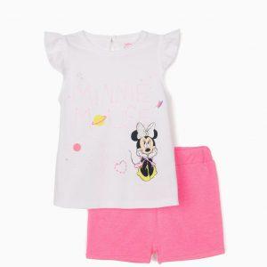 Conjunto camiseta y short rosa Minnie bebé