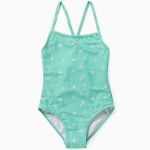 Bañador para niña estampado verde agua