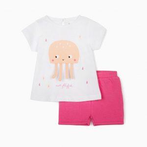 Conjunto camiseta y short fucsia medusa