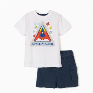 Conjunto camiseta y bermuda bebé space mission