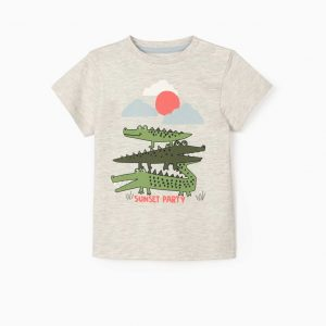 Camiseta bebé sunset party cocodrilos
