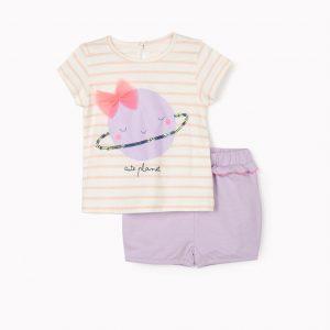 Conjunto camiseta y short cute planet