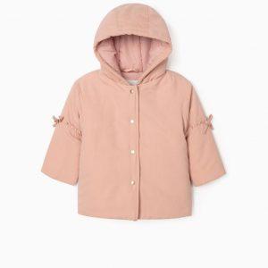 Parka con capucha rosa bebe niña